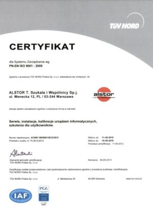 Certyfikat ISO - Serwis IT